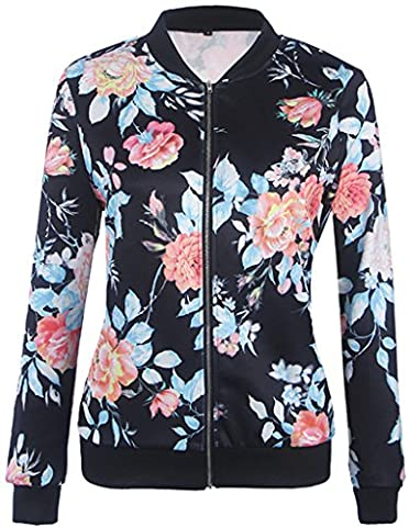 Eudolah Femme Veste motard Blouson court zippe a motifs des fleurs L bleu marine