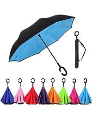 Parapluie pliant de Voyage Automatique Ciel Ensoleill¨¦ Bleu Invers¨¦ Double Couche Automatique