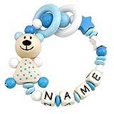 Premium Greifling mit Namen HOLZ Rassel Modell Teddybär Sterne weiß hellblau