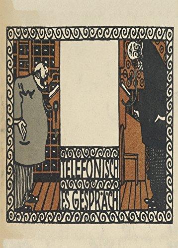 Vintage Wiener workstatte teléfono conversación por Moriz Jung, taller de Viena, 1907. 250gsm brillante Art Tarjeta A3reproducción de póster