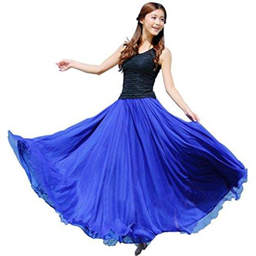 Röcke für Damen Sannysis Frau Elastische Taille Chiffon Rock Lange Maxi Beach Kleid Abendkleid Cocktailkleid Partykleid Rockabilly Kleid (Blau) (Solide Chiffon-rock)