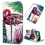 Edauto Huawei Y5 2018 Handyhülle Hülle Wallet Flip Case PU Leder Schutzhülle Bookstyle Handytasche Brieftasche Kartenfach Ständer Magnetisch Ledercover Klapptasche Großer Flamingo