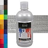 Artina Crylic Acrylfarben - hochwertige Künstler-Malfarbe in 500 ml Flaschen in Silber & weitere Farben