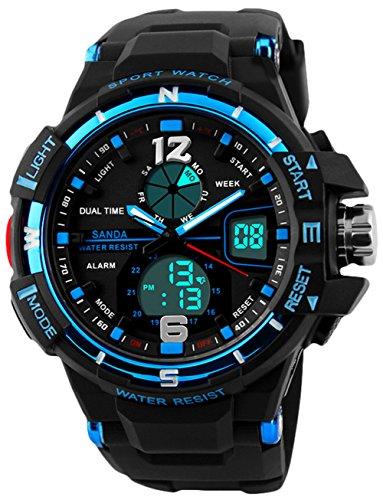 Kinder Digital Sport Uhren für Jungen, Kinder Sport Outdoor Wasserdicht Militär Analog Uhr mit Alarm, Jungen Sport Armbanduhren für Jugendliche -