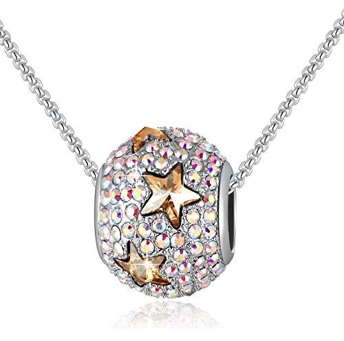Vita colorata - charms bead da donna - collana ragazze con cristalli swarovski® - collana con pendenti gemelli in zircone - moda gioielli regali …