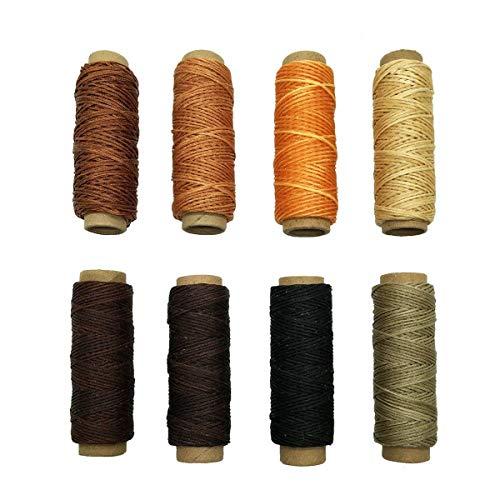 YXJD 8 Rollen Ledergarn Gewachste Baumwollschnur Wachsband 30m pro Rolle für Lederarbeiten Nähen Stickereien in 8 Farben