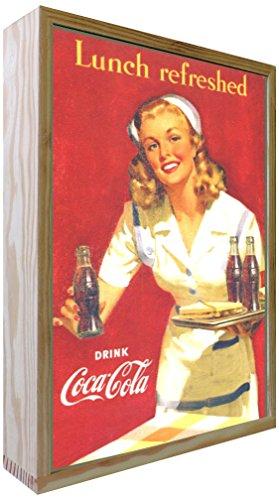 Ccretroiluminados Coca-Cola Lunch Refreshed Cartel Vintage Retro Iluminado, Madera, Multicolor, 30x50x5.3 cm