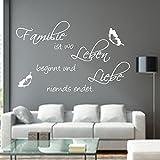 Wandschnörkel® Wandtattoo AA121 FAMILIE ist wo Leben beginnt.Spruch Schmetterlinge Wanddekoration Wandaufkleber Wohnzimmer Farbe./Größenauswahl Wandaufkleber