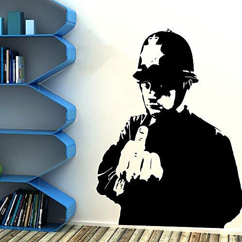 JXND Mittelfinger Cop Rude Wandaufkleber Schlafzimmer Wohnzimmer Banksy Graffitti Street Culture Police Wandtattoo Vinyl Decor75cmhighx56cmwide