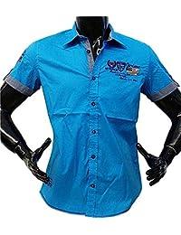 Neuf. Designer Chemise à manches courtes Carisma en turquoise uni crm9063