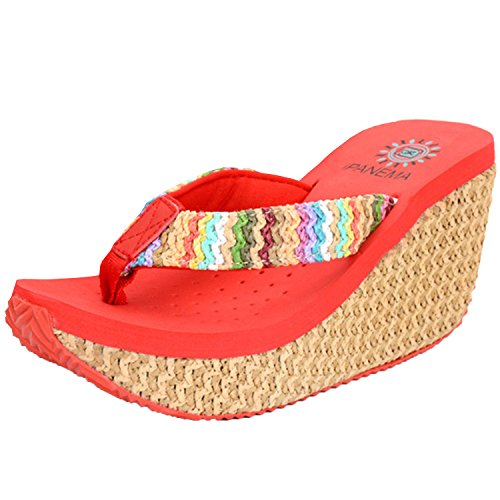 f922259bb08 Oasap Women s Fashion Bohemian Wedge Heels Flip Flops Thong Sandals ...