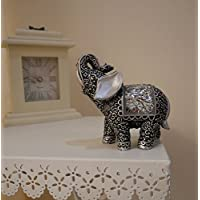 homezone Shabby Chic Plata Mosaico Buda elefante indio ADORNO DECORACIÓN HOGAR Rococco ESTILO MOSAICO DETALLES DE PLATA ELEGANTE adorno animal esculturas