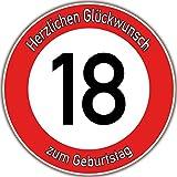 Tortenaufleger Fototorte Tortenbild Warnschild 18. Geburtstag rund 14 cm GB03