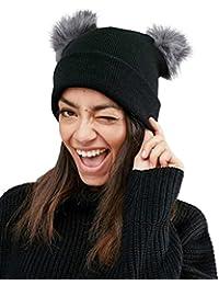 Dames Chat Oreilles Broderie----HUI.HUI Femme Homme Bebe Chemise En Laine  DoubléE Chunky Knit Slouch Beanie Hat Et Neckwarmer Snood Pour… eecb1cecda5