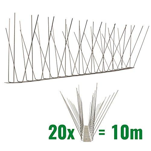 Pestsystems 10 Meter Möwenspikes 4-reihig auf V2A-Standard - hochwertige Lösung für Vogelabwehr Taubenabwehr Edelstahl Spikes -