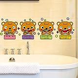 Wall sticker MiniWall MiniWall Die jungen Baby Bürsten Wand Cartoon Sticker schöne Kreative WC Badezimmer Fenster Glas Poster Selbstklebende Tapete, die Jungen Putzen Ihr Baby, König