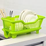 #6: House of Quirk Kitchen Sink Dish Drainer Drying Rack Washing Holder Basket - Green