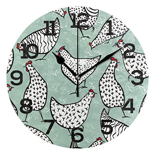 Aminka Runde Wanduhr mit 8 Hühnern, geräuschlos, Acryl-Uhren für Wohnzimmer, Schlafzimmer, Küche, Schule, Büro -