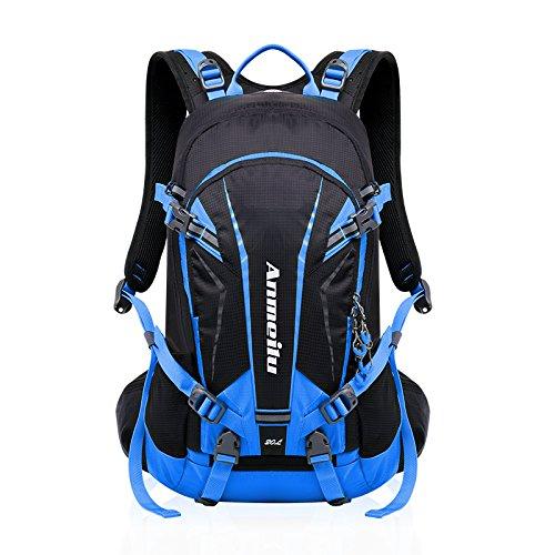 Fahrrad Rucksack 20L Multifunktionaler Wanderrucksack Wasserdicht mit Regen Cover Helm für Sport Reiten Reisen Camping, Blau