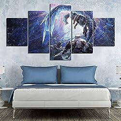 haochenli188 5 Stück Videospiel Poster Monster Hunter World Iceborne Spielfigur Wandkunst Bild Home Decor Kunstwerk Malerei Wandaufkleber-Kein Rahmen