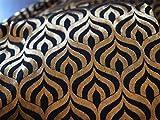 Brokat-Stoff mit Stoff-Mischgewebe, Schwarz und goldfarben