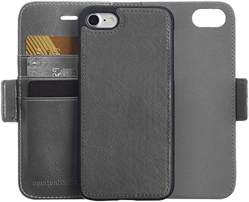 AmazonBasics Étui de protection avec rabat portefeuille détachable pour iPhone 8 / 7 Similicuir Gris foncé