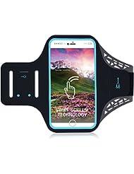 iPhone 8/8plus movimiento brazalete, huella digital Touch apoyo gimnasio correr entrenamiento/ejercicio brazo banda Funda para iPhone 6/6S/7/7Plus/8/8pluswith clave/titular de la tarjeta, negro