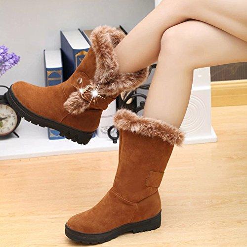 e2bd5289a888c Mode Chaussure Hiver Chaude Marron Plate Fourré Femme Wealsex Botte Bottine  Neige Mollet De Mi Confort wH1faxq174