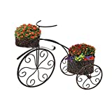 2 Tier Metal Ornate Tricycle Planter Stand Garden Bike Patio Ornament - PMS® - amazon.co.uk