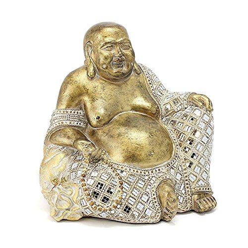 Large Gold Mirror Mosaic Happy Chinese Buddha with Beads Figurine