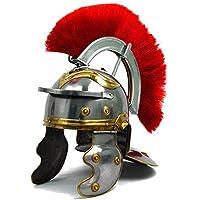 Thor Instruments.Co Casco de acero cromado con diseño de casco de centurión romano, 18 g