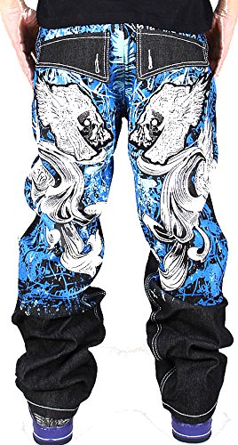Pizoff Herren Hip Hop Hipster Rap Style Baggy Jeans in mittelblauer Waschung j9001