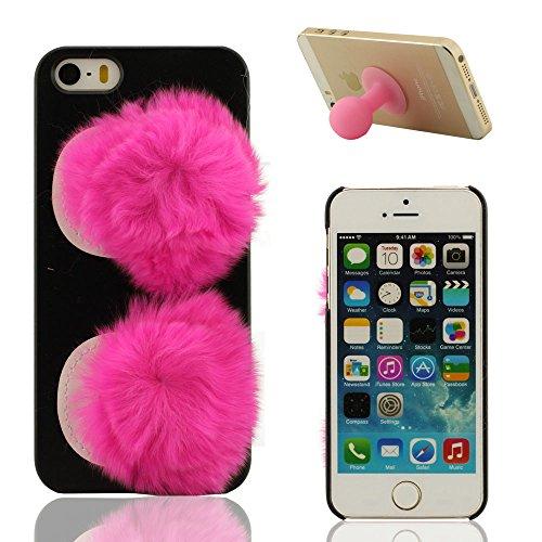 Schön Bunt Weich Baumwolle Ball - iPhone 5 5S Hülle Hardcase iPhone SE Cover X 1 Silikon Halter, Dünn Case Stoßfest Pink