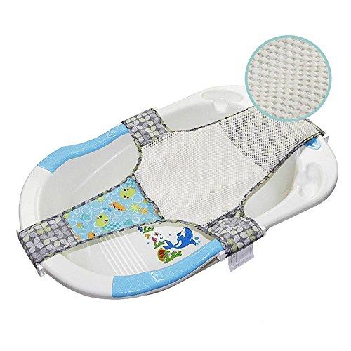 Cuby Neugeborene verstellbar Badesitz net Mesh Sling Sicherheit Baden Bett Unterstützung (Blau) (Vier-punkt-hängematte)