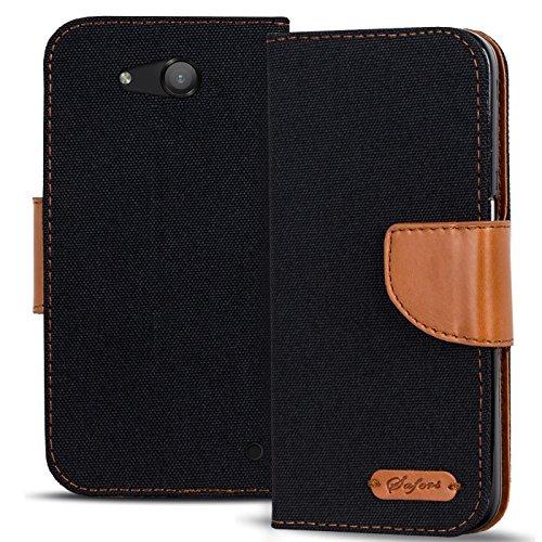 Conie Textil Hülle kompatibel mit Microsoft Lumia 550, Booklet Cover Schwarze Handytasche Klapphülle Etui mit Kartenfächer