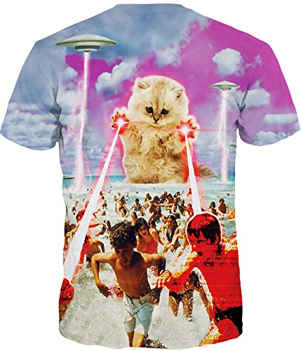 TDOLAH Herren Slim Fit 3D Farbspritzer Druck Muster T-Shirts Kurzarm Top Laser Katze