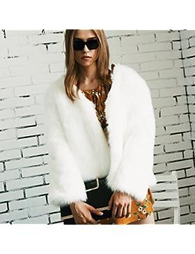 VLUNT Mujer abrigo de Pelo Chaqueta Invierno Abrigo de Piel Sintética de Fox Chaqueta Fur Coa Winter Fur Jacket...