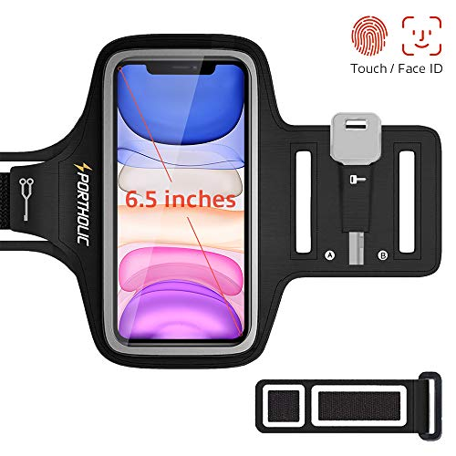 """PORTHOLIC Brassard de Sport pour iPhone 11 11 Pro Max XR XS Max XR X, Sangle Ajustable, Porte-Clés, Fente pour Carte, Attache pour Câble, Jusqu'à 6,5"""", pour Jogging Cyclisme Randonnée Marchant"""
