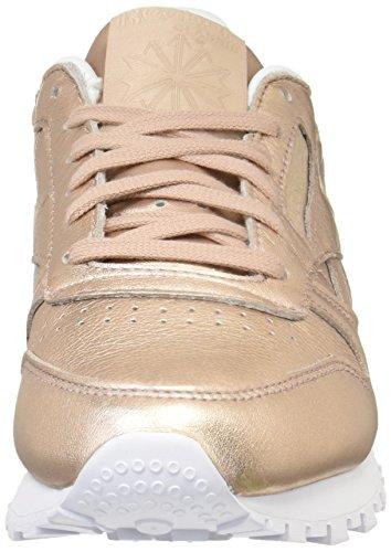 Reebok CL Lthr L, Scarpe da Ginnastica Basse Donna Oro (Pearl Metallic-peach / White)