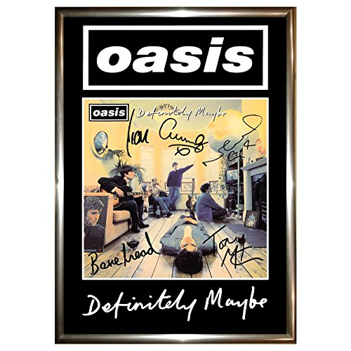 Oasis Definitely Maybe Signed and Framed Poster Display, A4