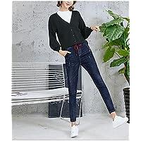 TT&NIUZAIKU Mujer Casual Tiro Medio Microelástico Vaqueros Pantalones, Un Color Algodón Invierno Primavera/Otoño, Blue, 27