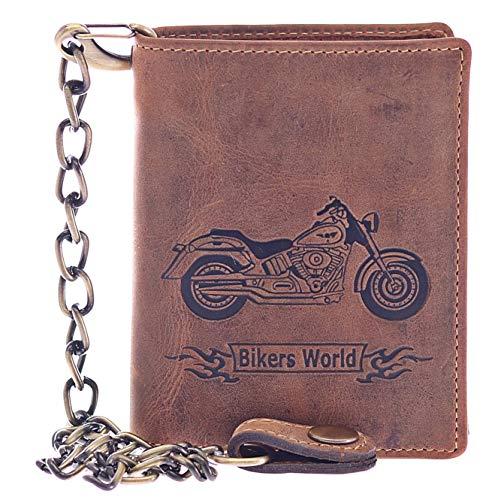 Greenburry Geldbörse Herren Totenkopf mit Kette Biker Börse Portemonnaie Leder braun Vintage Hochformat - Querformat (Hochformat Bike) - Harley Für Davidson Herren Geldbörse Von