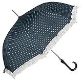 Clayre & Eef JZUM0008BL Schirm Regenschirm Stockschirm blau Herzen weiß Ø 93 x 90 cm