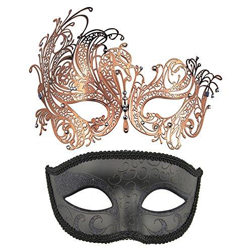 Thmyo Venezianische Maskerade-Maske des Paares, Halloween-Karnevals-Karneval-Ball-Maske 2 Satz (Rose Gold + Schwarz)