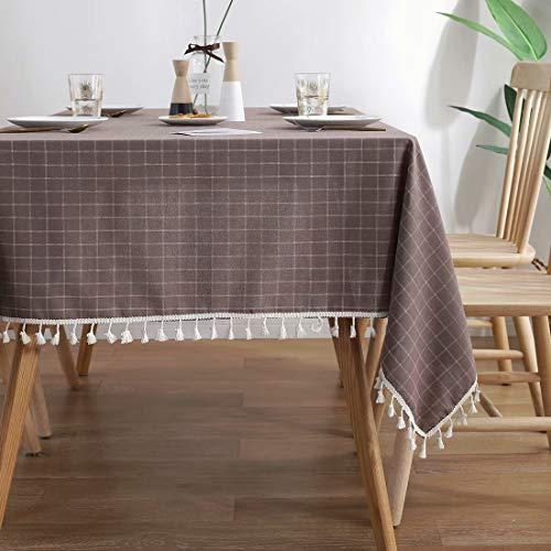 GWELL Tischdecke Eckig Schmutzabweisende Tischwäche TischläuferTischtuchBaumwolle Abwaschbar...