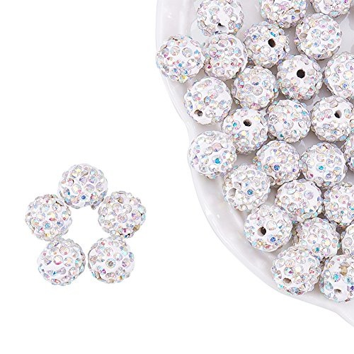 nbeads-Polymer-Spacer-Perlen-Schmuck 10mm Loch 1,5mm, weiß