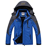 Softshelljacke Herren Gefüttert Funktionsjacke Wasserdicht Atmungsaktiv Wandern Outdoor Jacke Winter Skijacke (DE-3XL/Hersteller Gr.6XL Schulter60cm, Blau)