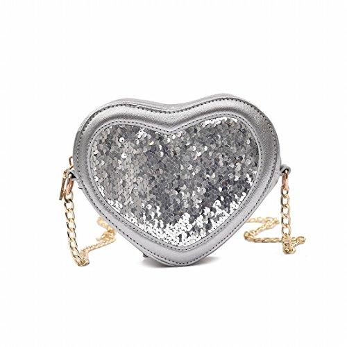 Schöner Pfirsich Herzförmiges Paket Paket Helle Helle Pailletten Personalisierte Tasche Frauen Süße Dame Messenger Bag Silber