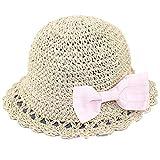 Snyemio Cappello da Sole in Paglia Bambino Ragazze da Spiaggia Estivi Fiori Berretto Protezione UV 0-8 Anni (Giallo, 48cm/1-2 Anni)