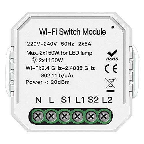 KKmoon Smart WiFi Switch Conmutador de red inteligente Interruptor de luz inteligente El Control Remoto Wifi M/ódulo de interruptor de bricolaje El control remoto funciona *5